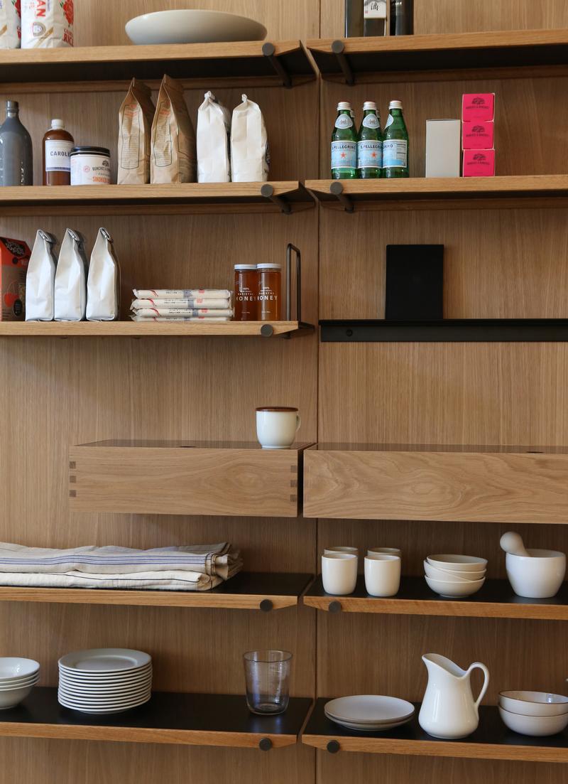 Shelves, storage box, picture rail