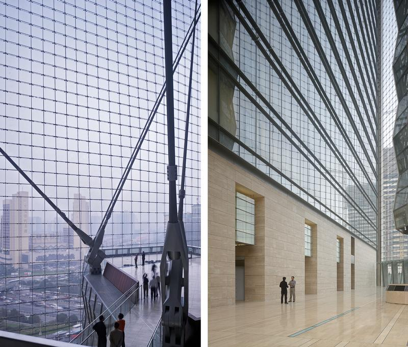Cable-net glass wall and open, atrium space / ©Tim Griffith