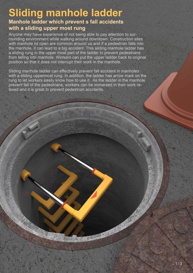 Sliding manhole ladder