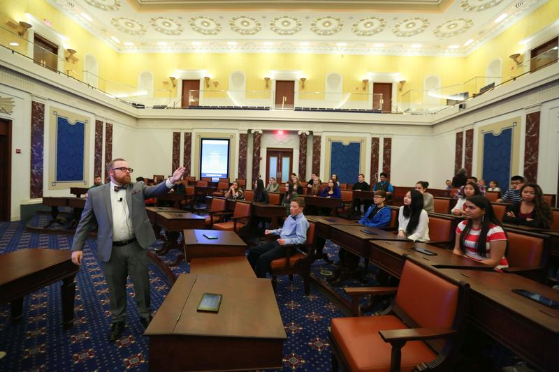 The last stop is a stunning, full-scale representation of the Senate Chamber. There, up to 100 visitors actively debate and negotiate in Today's Vote, or participate in the Senate-Immersion Module (SI