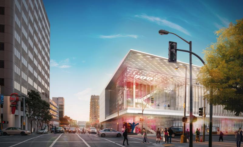 Corner view of the Moscone Center Expansion and Improvement on Howard and Third Streets. Rendering © Skidmore, Owings & Merrill LLP, with Mark Cavagnero Associates, 2015. All rights reserved.