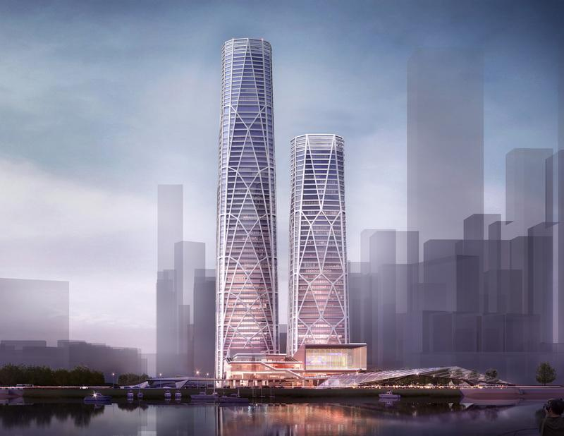 View of the CITIC FInancial Center towers and podium from Shenzhen Bay. Rendering © Skidmore, Owings & Merrill LLP , 2015. All rights reserved.
