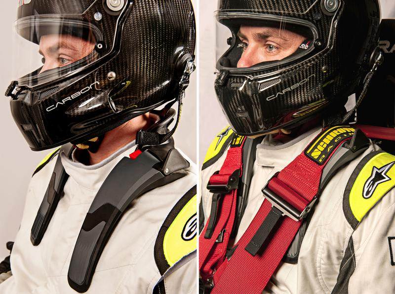 The low-profile collar of the SHR Flex sits well below the racer's helmet – on racer's shoulder before seated and when seated in use with a multi-point seatbelt system