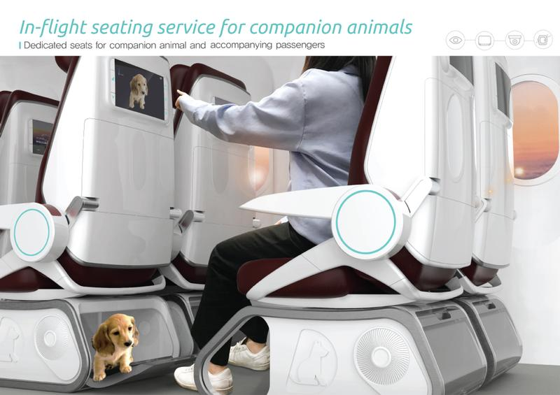 In-flight seating for companion pets