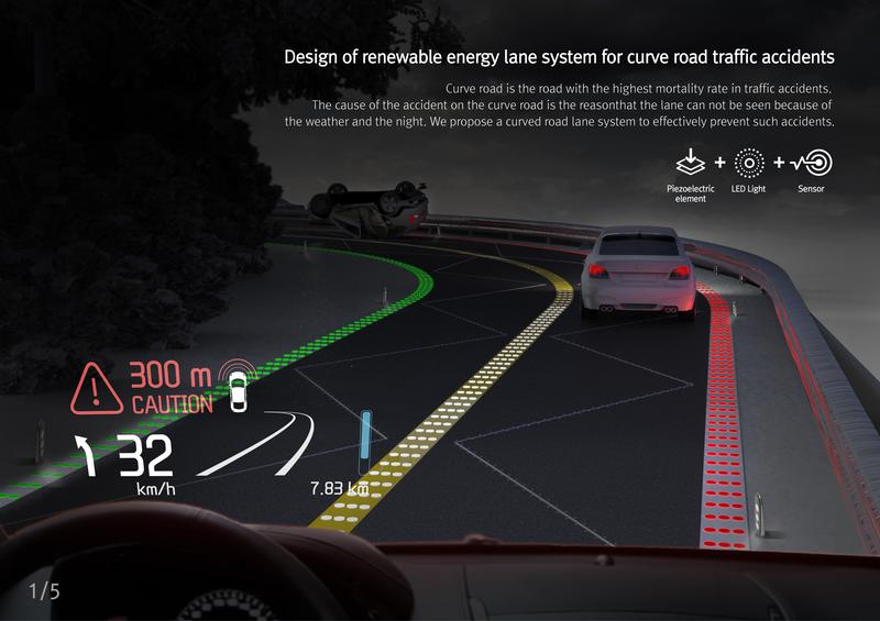 Lane system for curved-road traffic accidents